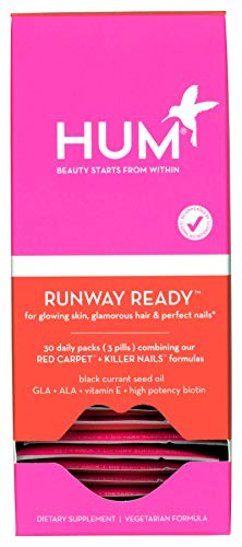 Softgels 30 Vegetarian (HUM Nutrition - Runway Ready - Plant Based Omegas & Biotin Packets for Hair, Skin & Nails (30 Day Supply, Vegetarian Softgels))