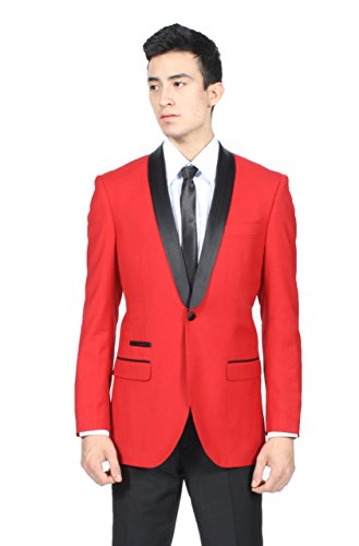 Men's Premium Slim Fit 1 Button Shawl Tuxedo Collection - Many Colors (50 Regular, Red)
