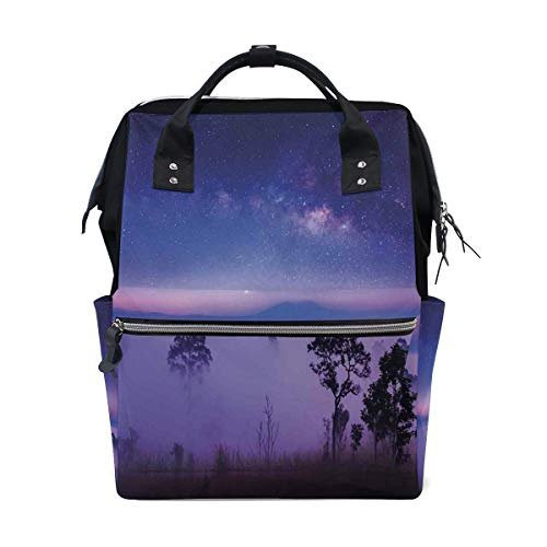 Kcolong Casual Backpack Cute Milk Way Starry Night In National Park Thailand Mystical Forest Scenery School Travel Daypack for Men Women Wide Doctor Style Top Opening