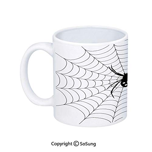 Spider Web Coffee Mug,Poisonous Bug Venom Thread Circular Cobweb Arachnid Cartoon Halloween Icon Decorative,Printed Ceramic Coffee Cup Water Tea Drinks Cup,Black White