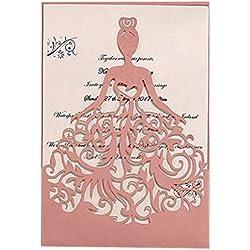 PONATIA 25PCS Laser Cut Wedding Invitations Card Hollow Bride Invitations Cards for Wedding Bridal Invitation Engagement Invitations Cards (Pink)