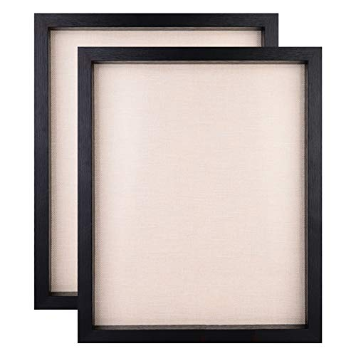 Display Shadow Box Frame, Linen Board Wood Showcase, Keep Awards, Medals, Tickets, Photos, Pictures Frames, 2 Pack