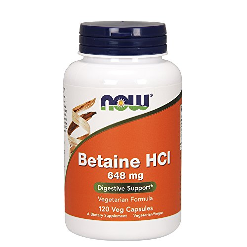 120 Hcl Caps - Now Foods Betaine HCl, 648 mg with 150 mg of Pepsin, 120 Capsules, 2 Pack