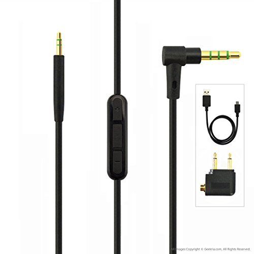 Bose QuietComfort QC35 Headphone Replacement Cable with Inline Mic / Audio Cord with Volume Control and Microphone, Works With Apple Device, Android, Windows Phone