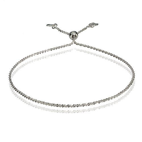 Bria Lou 14k White Gold 1.3mm Italian Rock Rope Adjustable Chain Bracelet, 7-9 Inches by Bria Lou