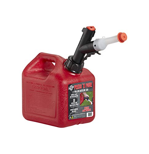 GarageBOSS GB310 Red 1+ Gallon Press 'N Pour Gas Can (Tank Gas)
