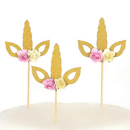 Set of 12 Glitter Gold Unicorn Cake Topper Unicorn Horn Cupcake Topper Party Decor Baby Shower One Cake Topper]()