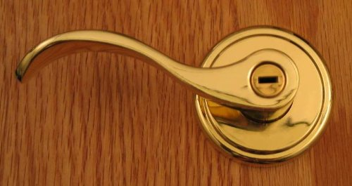 Hampton Privacy Lever Set by FPL Door Locks for LEFT HAND Bedroom and Bathroom Doors in Polished Brass Finish