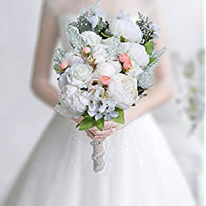 HiiARug Handmade Wedding Bouquets, White Artificial Peony Rose Artificial Flower Bouquet (B White)