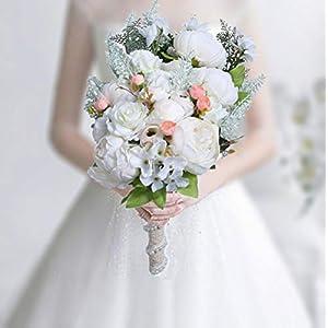 HiiARug Handmade Wedding Bouquets, White Artificial Peony Rose Artificial Flower Bouquet Bride Bridesmaid Holding Flower (White)