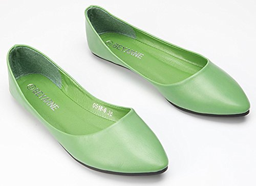 Sfnld Mujeres Casual Pointy Low Cut Flats Slip On Zapatos Verde