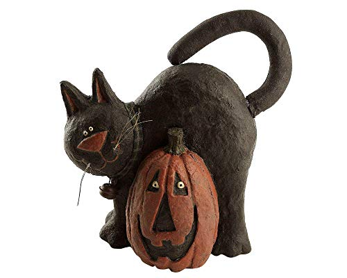 Craft Outlet Papier Mache Cat with Pumpkin Figurine, 8.5-Inch