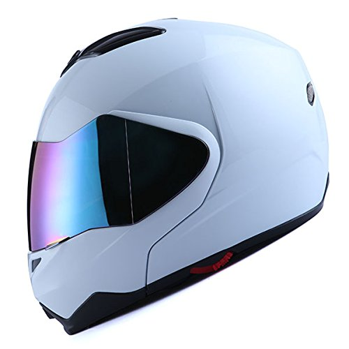 1Storm Motorcycle Street Bike Modular/Flip up Dual Visor/Sun Shield Full Face Helmet Glossy White