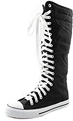 Women's Knee High Punk Sneaker Boots Punk-Hi Blue, 11