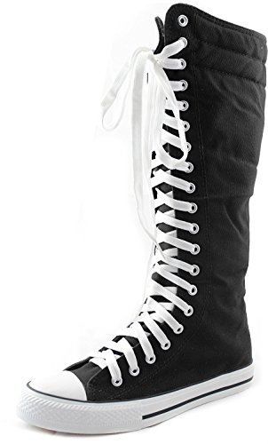 Black Punk Boots (Women's Knee High Punk Sneaker Boots Punk-Hi Black, 8)