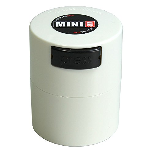 Minivac - 10g to 30 grams Airtight Multi-Use Vacuum Seal Portable Storage Container for Dry Goods, Food, and Herbs - White