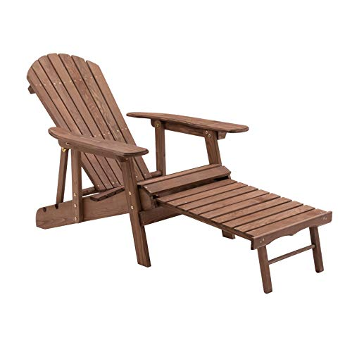 Dark Brown Finish Fir Wood Oversized Adirondack Chair with Retractable Ottoman Outdoor Patio Yard Lawn Furniture Contour Seat (Chairs Ottoman Adirondack Retractable With)