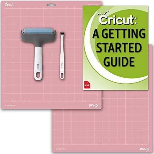 Cricut Maker Machine Brayer, Broad-Tip Tweezers, Pink Fabric GripMat and Beginner eGuide