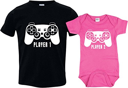 Brothers Player 1, Player 2 Outfit, Little Sister Onsie Includes Med10-12 & 0-3m