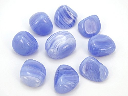 jennysun2010 Natural Chalcedony Blue Lace Agate Gemstone Metaphysical Stones Light Blue Purple with White Stripes Freeform Nugget Healing Collectible 1 Piece per -