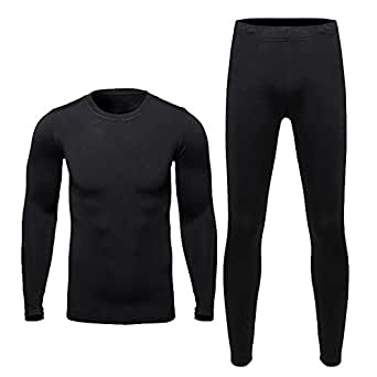 HEROBIKER Men Cotton Thermal Underwear Set Motorcycle Skiing Winter Warm Base Layers Tight Long Johns Tops & Pants Set Black M