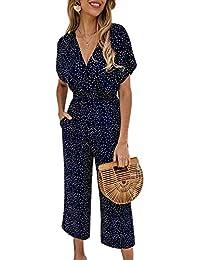 YAMTHR Womens Short Sleeves V Neck Polka Dot Wide Leg High Waist Jumpsuit Rompers