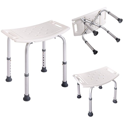 7 Height Adjustable Medical Bath Shower Stool Chair Bath Tub Seat in White New (RECTANGLE) by Unknown