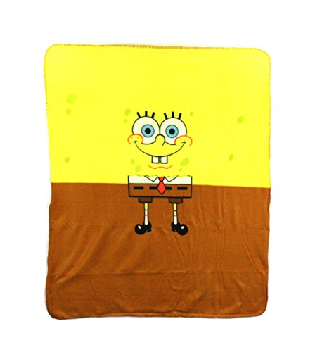"SpongeBob ""Half & Half"" Fleece Character Blanket 50 x 60-inches"