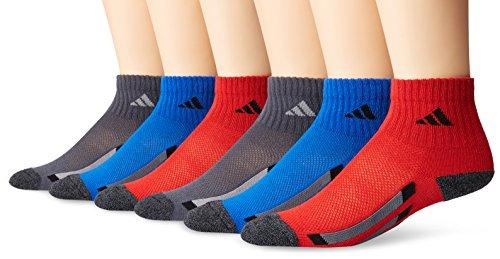 adidas Youth Cushioned 6pk Quarter Sock, Scarlet/Onyx/Blue/Black Marl/Light Onyx/Black, Large