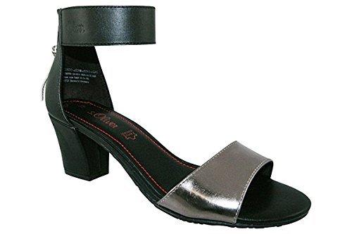 S. OLIVER donna tacco sandalo nero con tacco schulbuchhandlung e chiusura lampo