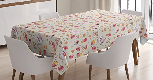 (Ambesonne Kitchen Decor Tablecloth by, Vintage Retro Antique Tea Cups Teapots Art Pattern Image, Dining Room Kitchen Rectangular Table Cover, 52 W X 70 L Inches, Light Pink Dark Coral and White)