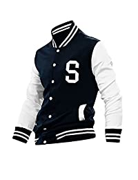uxcell Men Long Sleeves Button Front Letters Varsity Jacket