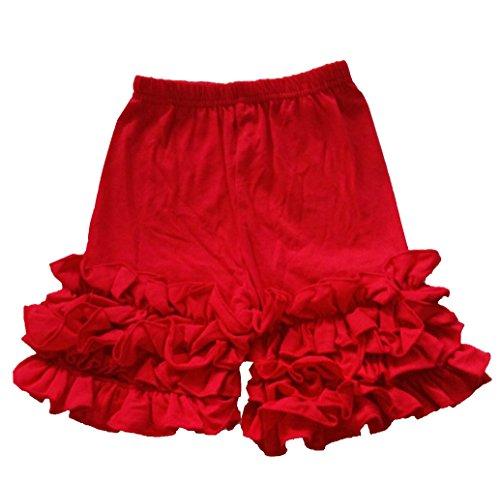 Baby Little Girls Short Icing Triple Ruffle Shorts (Ruffle Red Shorts)