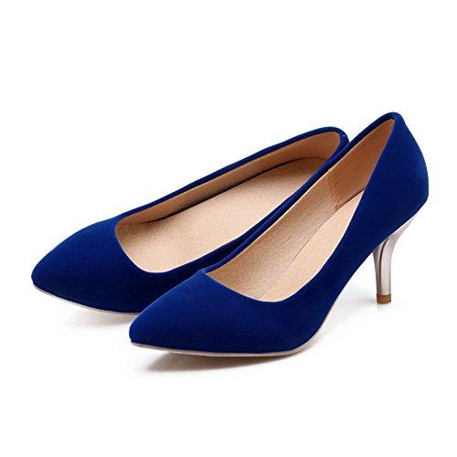 Balamasa Ladies Spikes Stilettos Con Punta Puntiaguda Low-cut Uppers Sin Cierre Urethane Pumps Zapatos Blue