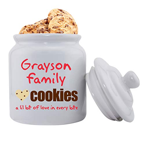 Personalized Family Cookies Ceramic Cookie Jar - Monogrammed Family Cookie Jar - Custom Cookie -