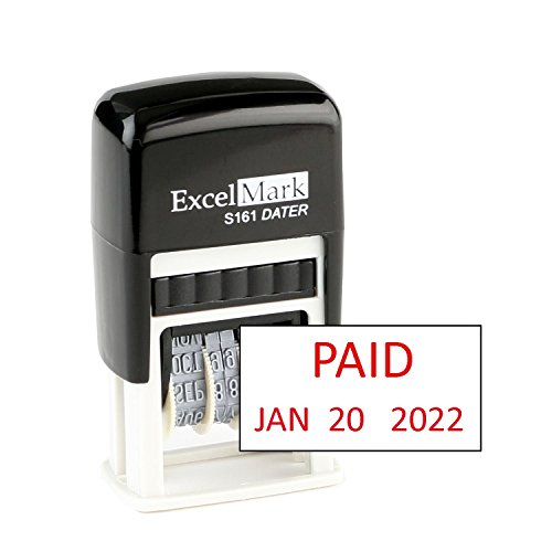 Paid - ExcelMark Self-Inking Rubber Date Stamp - Compact Size - Red Ink