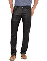 Mens Slim Fit Stretch Fashion Casual Faux Leather Pants