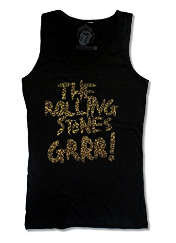 The Rolling Stones Leopard Logo Black Tank Top Girls Juniors Shirt (L)