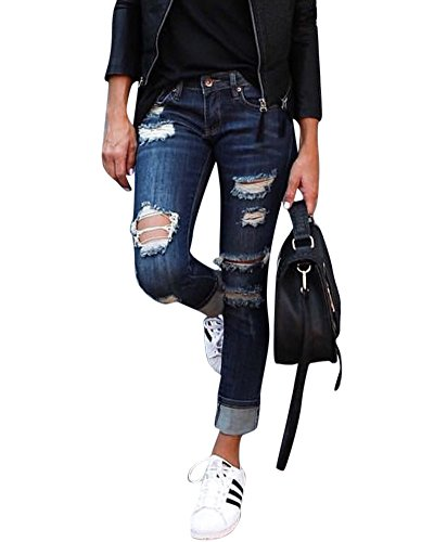 Denim Femme Bleu Haute Trou Trou Slim Pantalons en Dchirs Taille Destroy Fonc Jeans ZqZrxv1