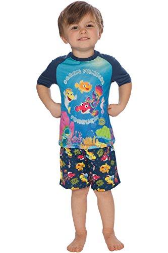 - INTIMO Boys' Toddler Splash and Bubbles Ocean Friends Pajama Short Set, Multi, 5T