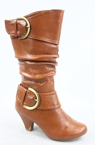 Lucky Top Auto-9k Girls Kids Cute Round Toe Buckle Dress Side Zipper Low Heel Boots Shoes