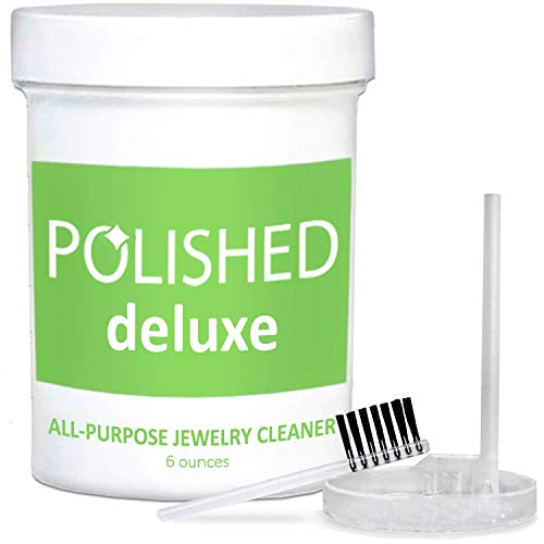 (NEW Polished Jewelry Cleaner Solution (Deluxe) - All Purpose Jewelry Cleaning in 2-Minutes! - Diamond Ring, Gold, Sterling, Silver Cleaners - Jewelry Polish & Cleaning Kit with Anti Tarnish Protection)