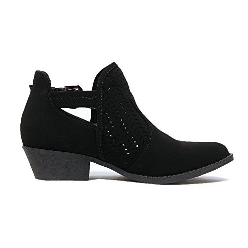 Buckle Heart Comfortable Closed Toe Guilty Nubuck Black Low Ankle Heel Booties Chunky Perforated Womens Boots vEzz8qd