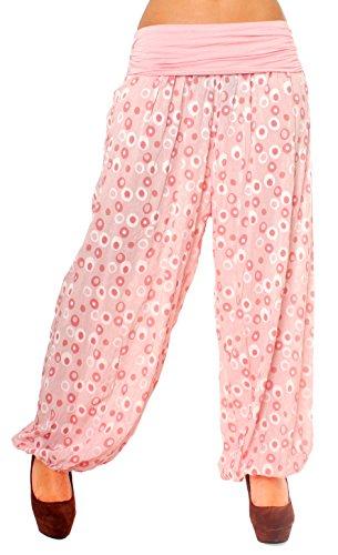 Fragolamoda Damen Sommer Baumwoll Harems Pluder Hose Weit Lang Ringel Punkte Muster One Size Rosé