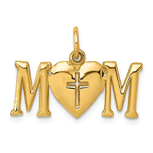 (14k Yellow Gold Mom Cross Religious Pendant Charm Necklace Fine Jewelry Gifts For Women For Her)
