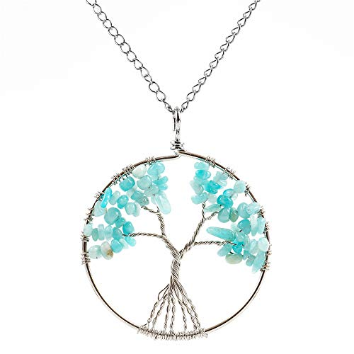 Of Aqua Pendant Mother Pearl (Top Quality Tree of Life Chakra Pendant Necklace Natural Aquamarine Gemstone Chakra Jewelry 26