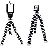 Flaxzy Die Hard Fully Flexible Foldable Octopus Mini Gorilla Tripod Stand Monopod Kit for Smartphone and Action Cameras, Supports Up to 1 g (8 Inch Height, Black and White)