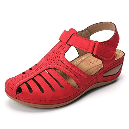 Casual Wedges Shoes for Women, Huazi2 Summer Girls Comfortable Ankle Hollow Round Toe Soft Sole Sandals Red