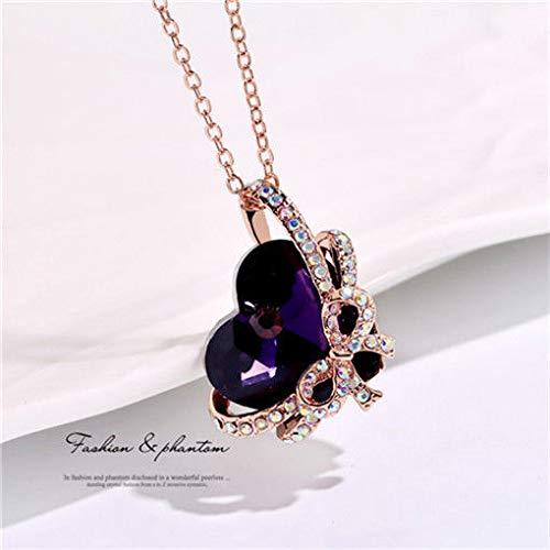 (Women Heart Butterfly Purple Crystal Rhinestone Silver Chain Pendant Necklace пјЃпјЃ)