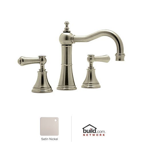 U.3723LSP-STN-2 Perrin and Rowe Collection Georgian Era Three Hole Column Spout Basin Set with Lever Handles California AB 1953 and Vermont S152 Compliant: Satin